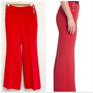 WHBM | Red Flare Sailor Button Pants Sz 4